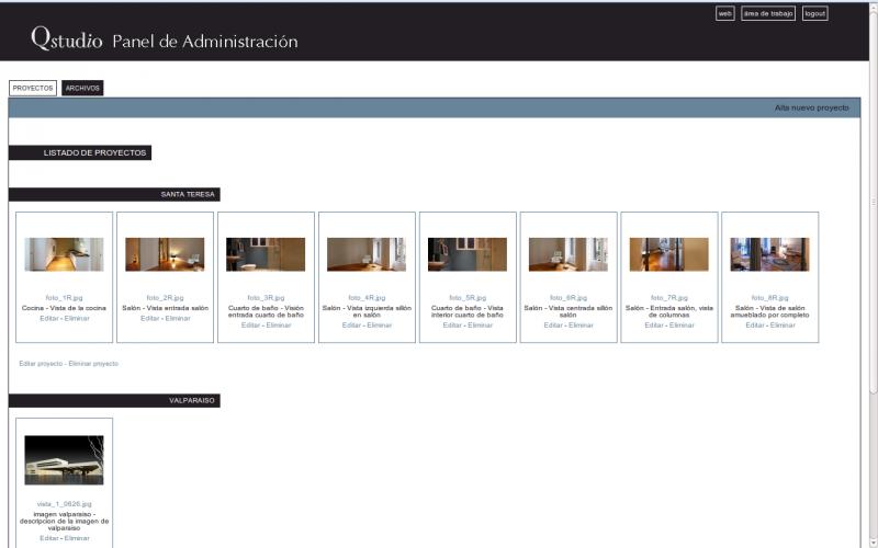Panel administración web Qstudio
